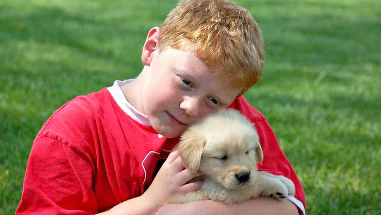 a boy with a puppy