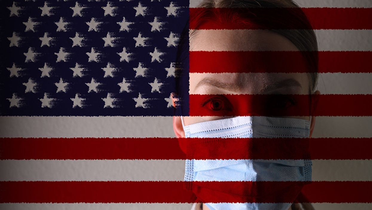 american flag with a woman doctor wearing a blue face mask behind it