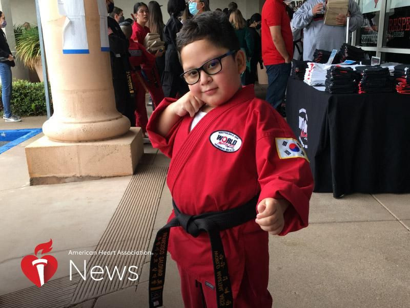 AHA News: He Went From Open-Heart Surgery at 5 to a Black Belt at 7 thumbnail