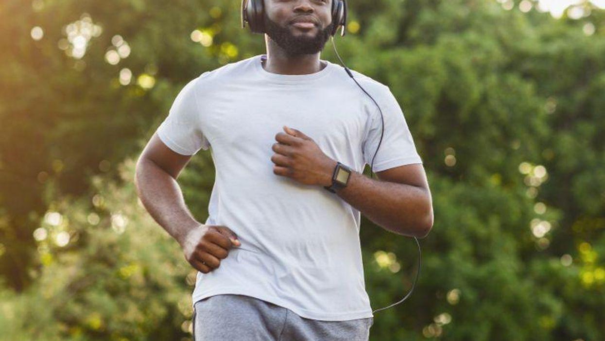 black man male running jogging