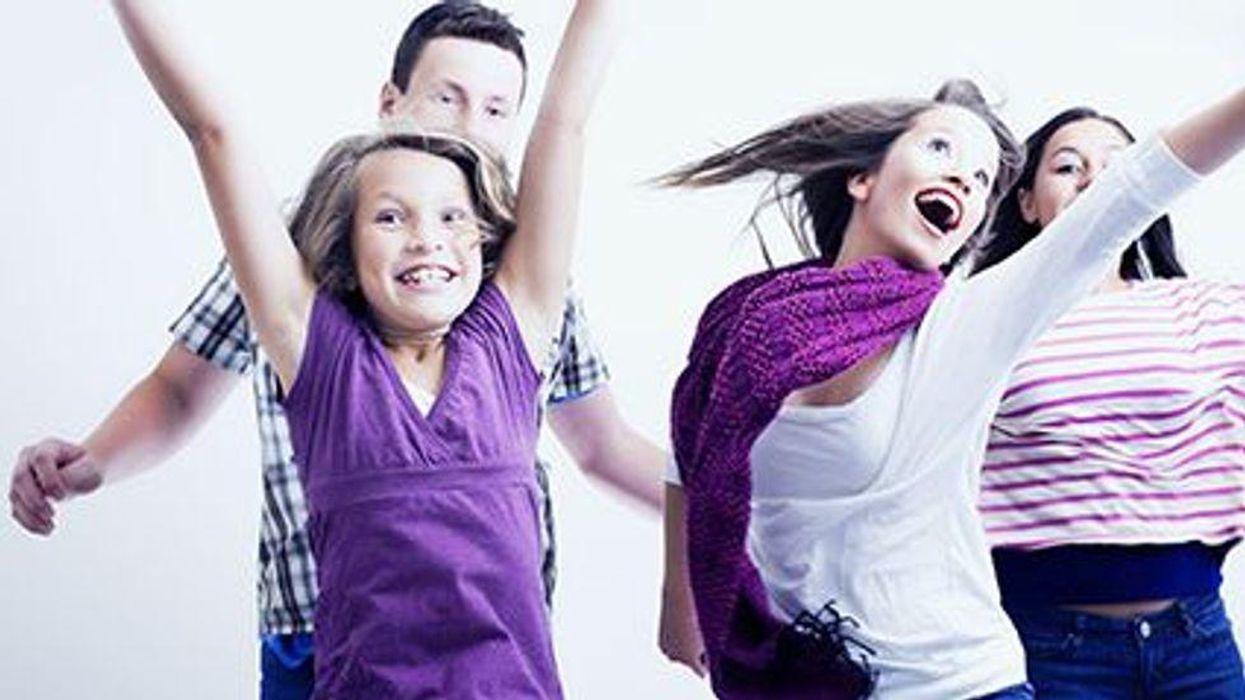 kids jumping happy