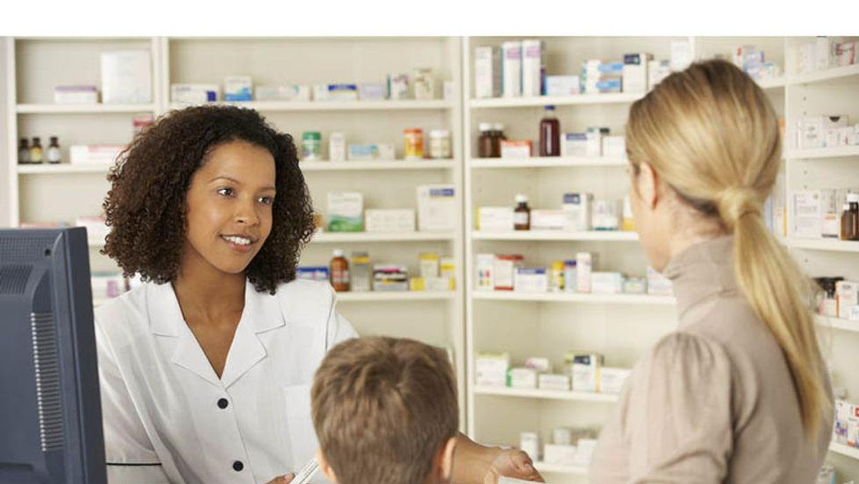 woman and son at pharmacy