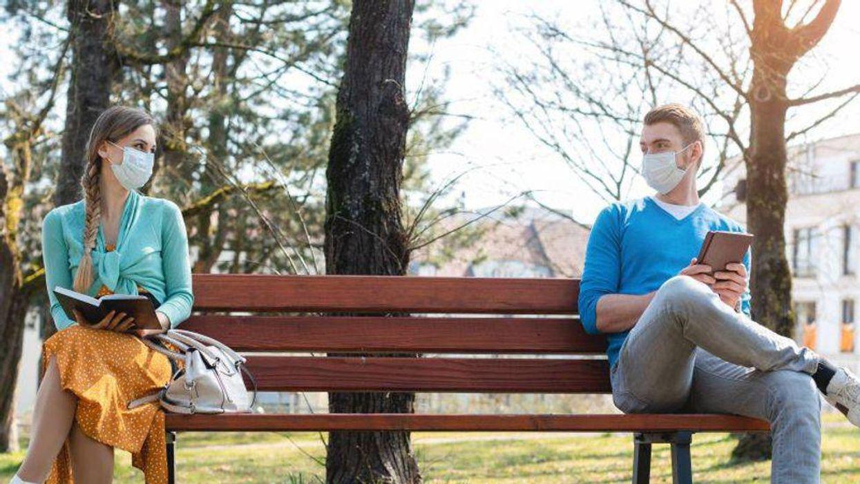 social distancing coronavirus covid bench masks