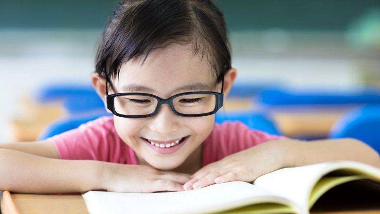 child glasses reading