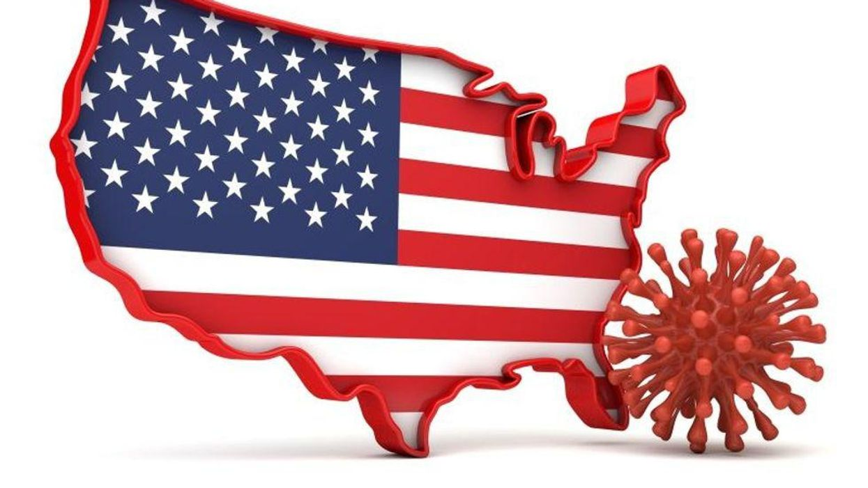 united states graphic with american flag with red coronavirus cell