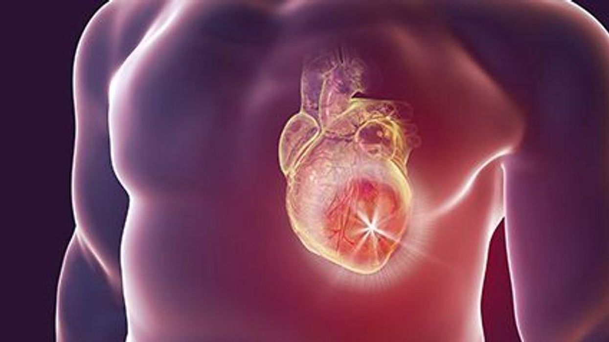 a human body with a heart