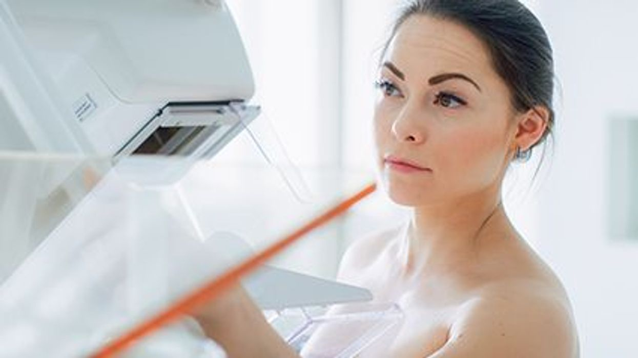 a woman during mammography