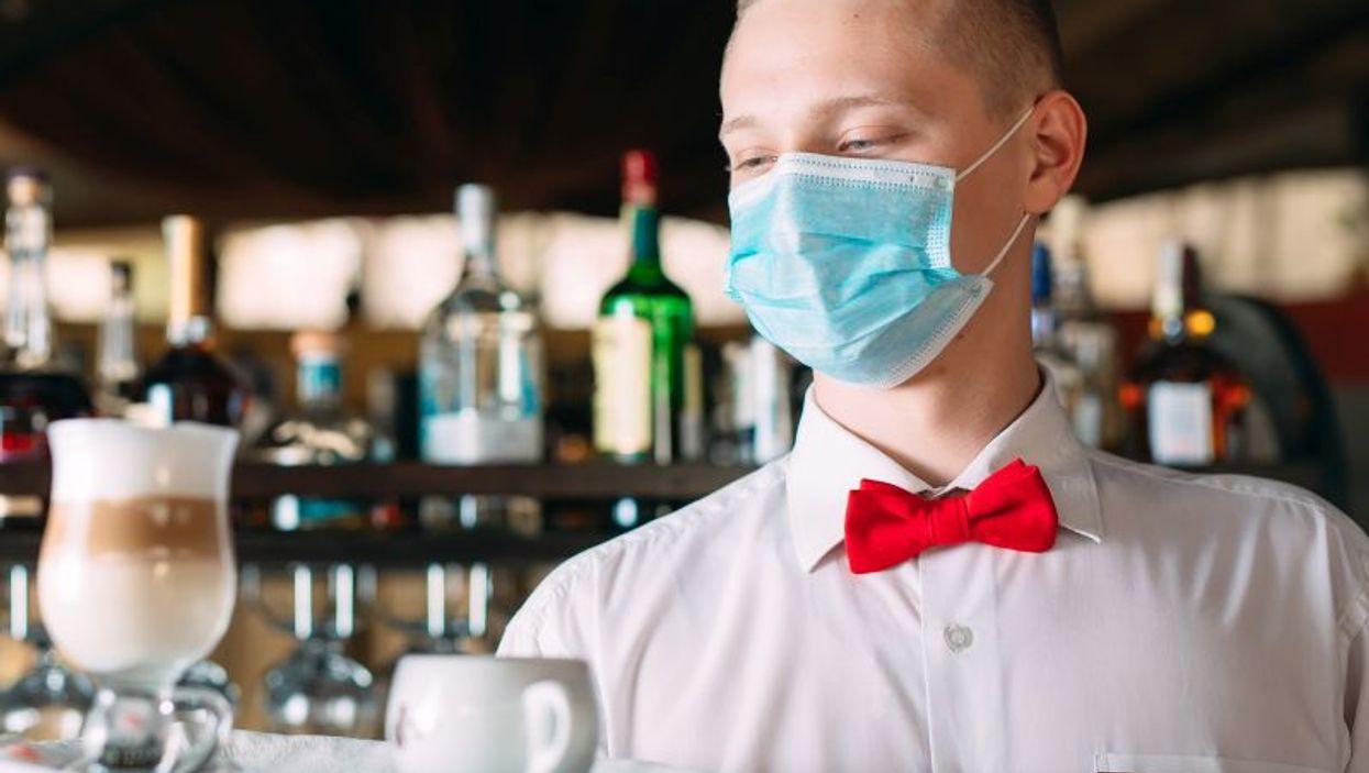 bartender wearing mask