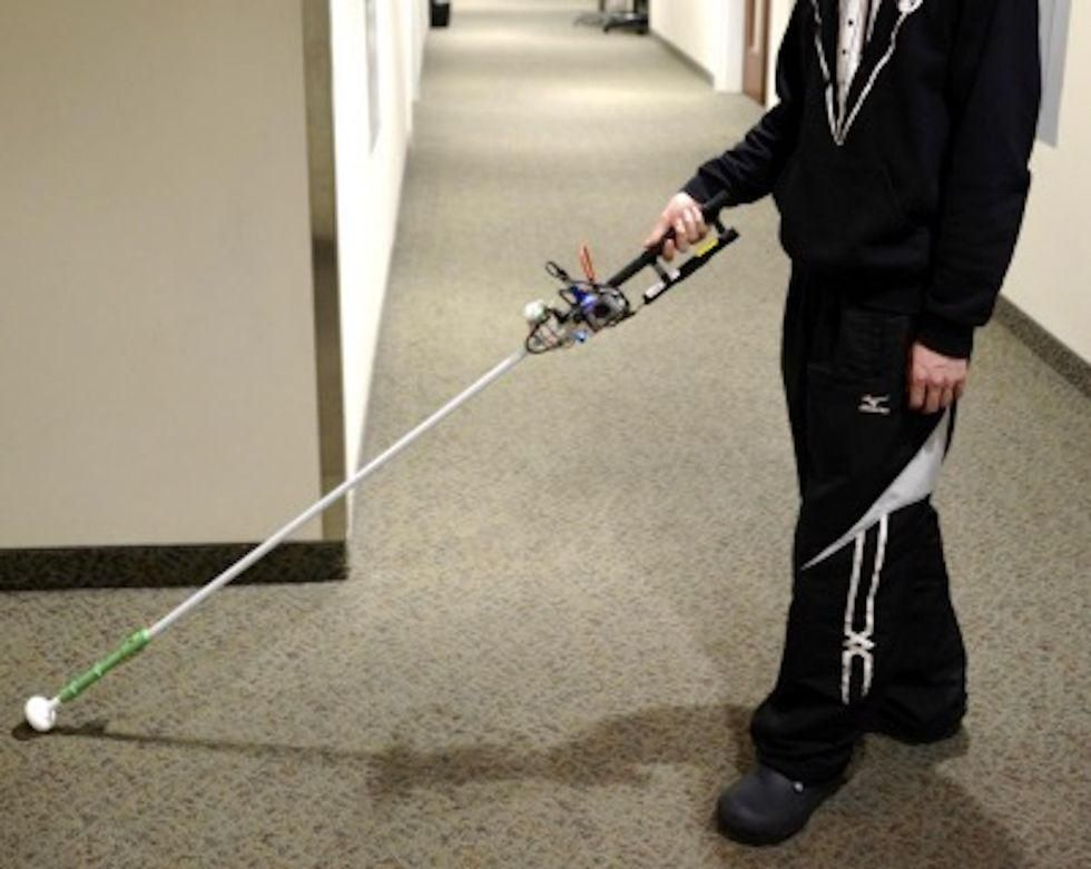 News Picture: Robotics Bring the White Cane Into the 21st Century